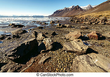 Mountain landscape with ocean. Iceland
