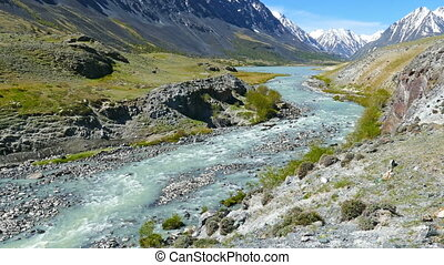 mountain landscape with river in Altay, Russia