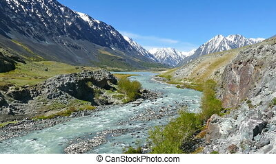 mountain landscape with river in Altay, zoom in