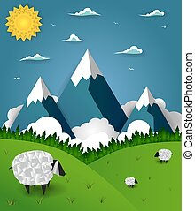 Mountain landscape with sheep on field
