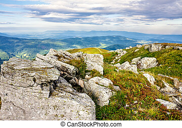 mountain landscape with stones in the grass on hillside and...