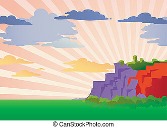 Mountain landscape with sun rays