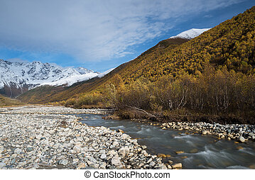 Mountain landscape with the river Enguri, Svaneti Georgia