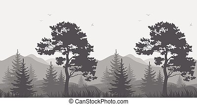 Mountain landscape with trees and birds