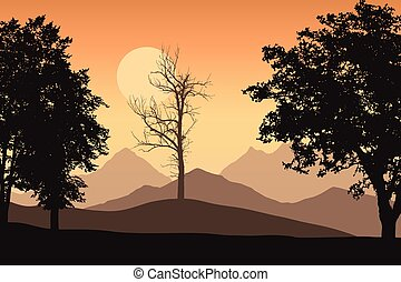 Mountain landscape with trees and one lone dead trees, the orange sky with the sun