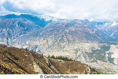 Mountain landscape with views of the Bagmati river, Nepal. -...