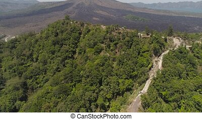 mountain landscape with volcano Batur - Aerial mountain...