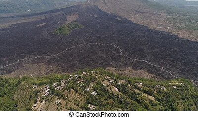 mountain landscape with volcano Batur - Aerial view...