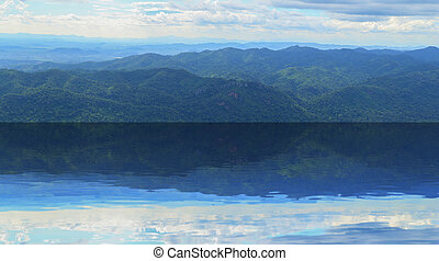 Mountain Landscape with water reflection at Chaiyaphum...