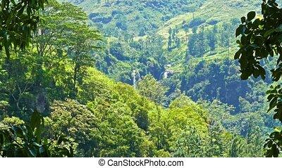 Mountain landscape with waterfall in Sri Lanka
