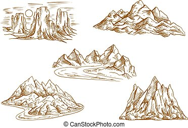 Mountain landscapes retro sketch icons - Retro sketched...