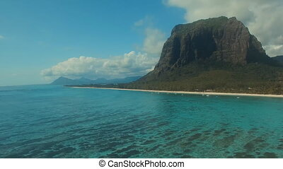 "mountain ""Le Morne Brabant"" on the island of Mauritius..."