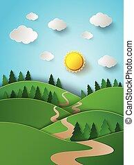 mountain., levers de soleil, sur