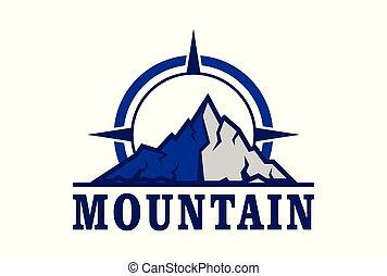 mountain logo compass icon vector