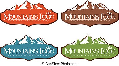 Mountain Design Creative vector icon with snow peaks.