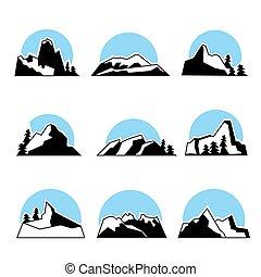 Mountain logo set. Vector illustration, isolated on white.