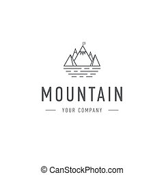 Mountain logo template travel and adventure business. Outdoor explorer badge. Illustration of outdoor explorer label.