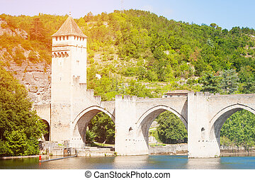 Mountain, Lot river and Valentre bridge in Cahor