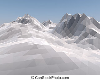Mountain low poly background. 3D rendering.