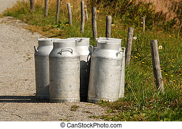 Milk cans ready for collection the evening, Savoie