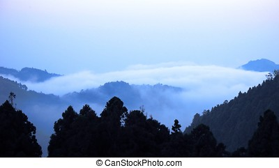 Mountain Morning - -- misty fog and sea of clouds at dawn