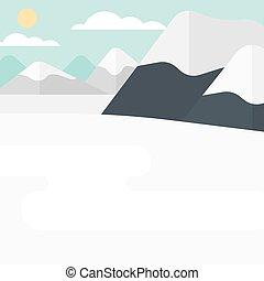 mountain., neige, fond, couvert