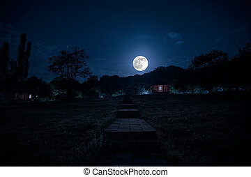 Mountain night landscape of building at forest at night with moon or vintage country house at night with clouds and stars. Summer night.