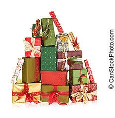 Mountain of christmas presents