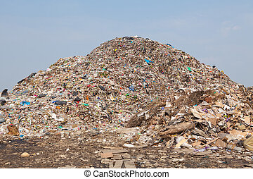 mountain of garbage - Garbage at a rubbish dump in a...