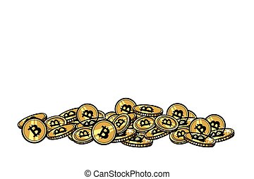 Mountain of gold coins with bitcoin cryptocurrency