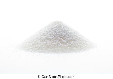 mountain of sugar on white background
