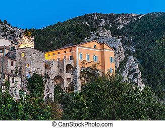 Mountain old village Peille, Provence Alpes, France. Night...