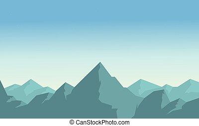 Mountain on blue sky landscape