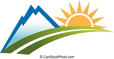 Mountain outdoor recreation logo. Vector graphic design
