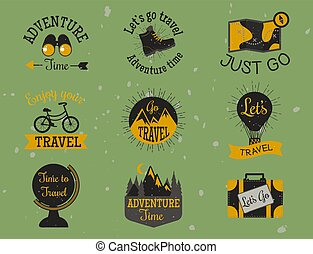 Mountain outdoor vector camping travel hand drawn labels climbing and hiking badges peak extreme illustration.