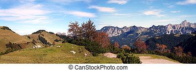 Mountain panorama in autumn in Tyrol