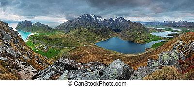 Mountain panorama in Norway, Lofoten