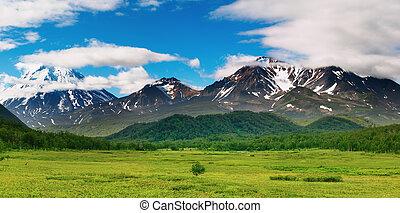 Mountain landscape, volcanoes of Kamchatka