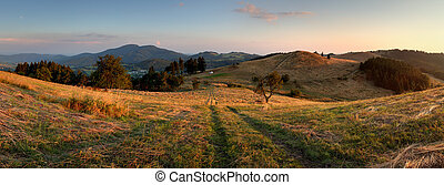 Mountain panorama over Banska Stiavnica