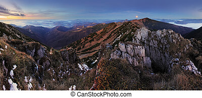 Mountain panorama with moon - Slovakia Fatras