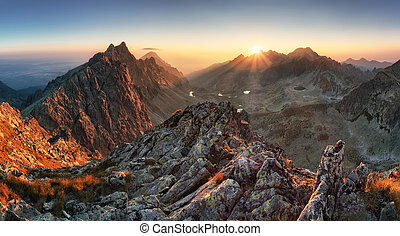 Mountain panorama with sun in Slovakia