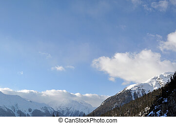 Mountain panorama with trees, snow and clouds