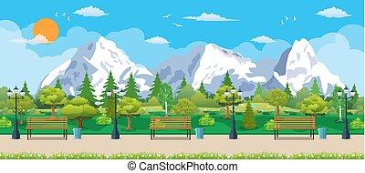 Mountain park concept, wooden bench,