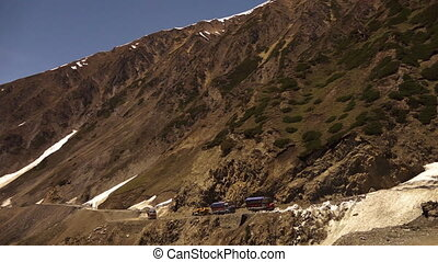 Mountain pass road blocked by glacier, Ladakh