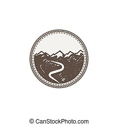 mountain patch and sticker. Vintage hand drawn outdoor adventure design. Mountains top, peak symbol. Camping icon. Stock vector isolated on white background