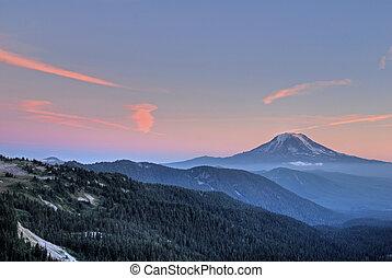 Mountain peak at sunset - Mt. Adams in Washington State, at ...