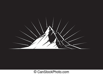 Mountain Peak by night - Illustration of a mountain peak...