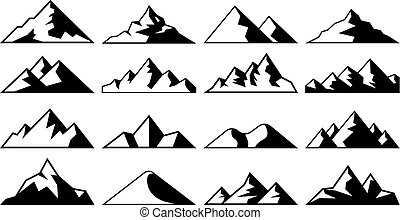 Mountain peak icon. Tibet mountains, berg hills tops and...