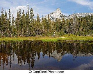 Mountain peak in yosemite reflected on the lake