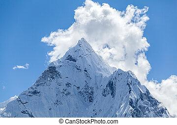 Mountain peak, Mount Ama Dablam - Mount Ama Dablam in...